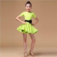 2017 New Children Latin Dance Girls Leotard Clothing Costume Contest Children Latin Dance Dress Kids Latin