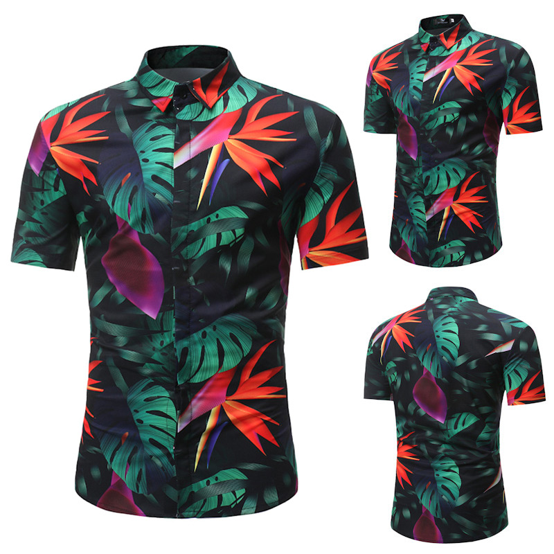 Summer Men Floral Shirt Short Sleeve Stand Collar Leaves Printed Beach Travel Casual Shirts H9