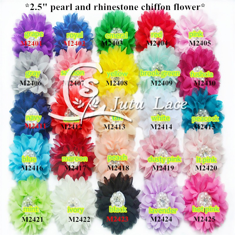 60 pcs lot 2 5 chiffon Flowers Pearl fabric flower for apparel headband accessories