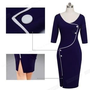 Image 5 - Nice forever Vintage Brief Split Bottom Elegant Casual Work 3/4 Sleeve Deep O Neck Bodycon Knee Women Office Pencil Dress B329