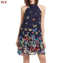 KLV Women Sleeveless Halter Neck Chiffon Butterfly Printed Dress Summer Beach Tunic
