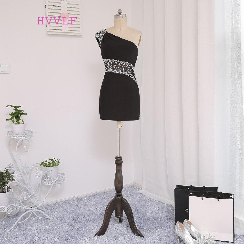 HVVLF Black   Cocktail     Dresses   Elegant 2019 Sheath One-shoulder Short Mini See Through Homecoming   Dresses