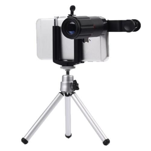 Universal de 8X de Zoom de la Lente de Teléfono Móvil Teleobjetivo Lentes de la Lente Del Teléfono Celular para iphone 6 5 5c 5s ultra-delgado de la cámara con trípode de escritorio