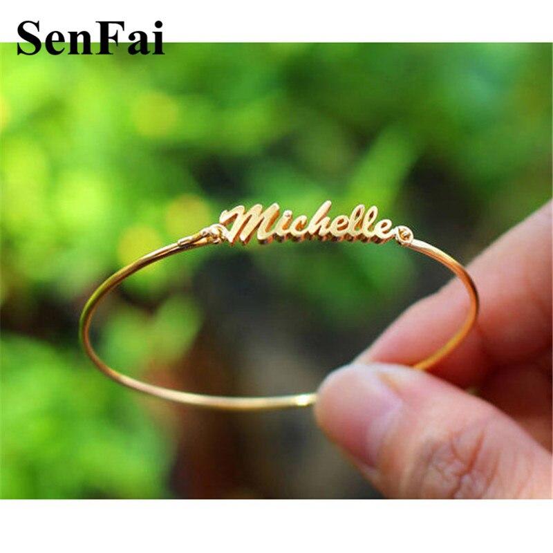 Senfai Custom Name Bracelets for womens mens Rose Gold Silver pulseras gypsy joyeria autism Cute Cuff Bangle Bar Party Jewelry
