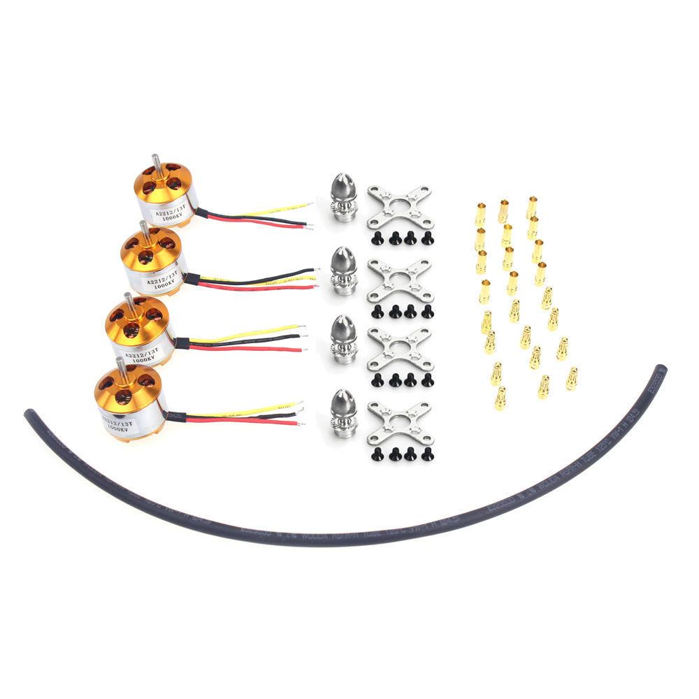F02015-AC 4 Pcs A2212 1000KV Brushless Outrunner Motor Mount with 12 Pairs 3.5MM Banana Plug ( Male and Female) for Quad UFO FS