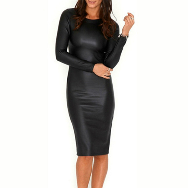 2018 Autumn Winter Black Sexy Synthetic Leather Womens Plus Size