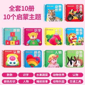 Image 2 - 10 pièces/ensemble, nouvelles cartes à caractères chinois pour léducation préscolaire, apprentissage préscolaire, avec image, développement du cerveau gauche et droit
