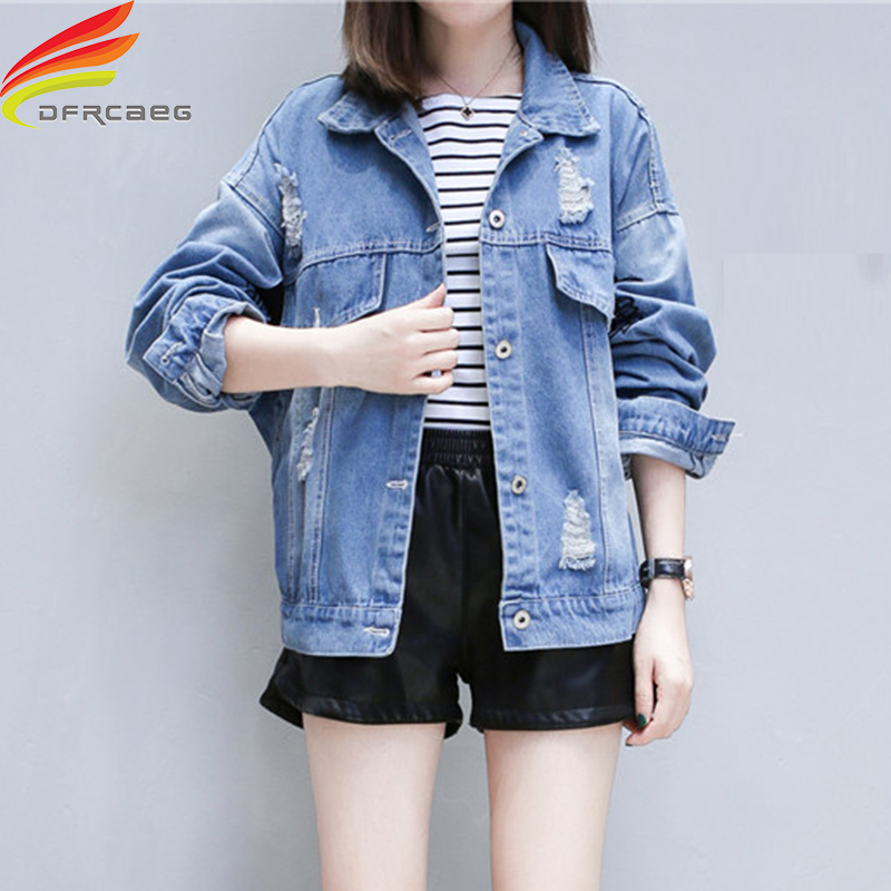 Autumn Winter Denim   Jacket   2018 New Street Style Jeans   Jackets   With Hole Jeans Outerwear Coat Female Winter   Basic     Jackets