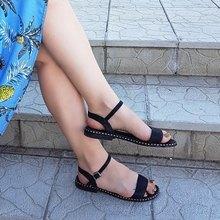 Женские повседневные сандалии AIMEIGAO, черные удобные босоножки на плоской подошве, большие размеры, лето 2019
