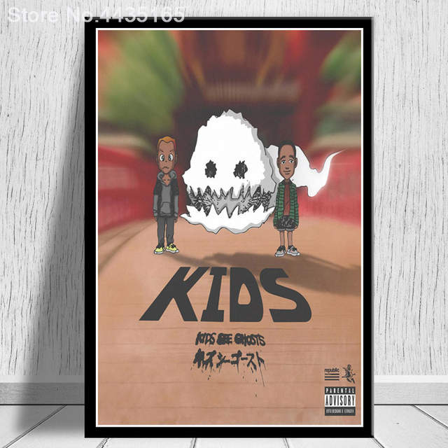 1e3ef957c91c0 US $1.98 27% OFF|Kids See Ghosts Kanye West Poster Kid Cudi 2018 New Album  Posters and Prints Wall Art Living Room Modern Decoration-in Painting & ...