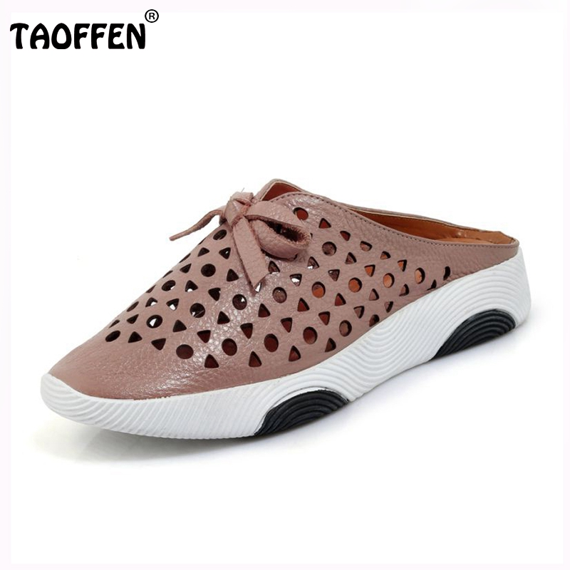 TAOFFEN Simple Women Genuine Leather Flats Sandals Bowtie Hollow Out Solid Color Flats Slippers Summer Beach Shoe Size 34-39 hollow out breathable women sandals bowtie loafers sweet candy colors women flats solid summer style shoes woman st6 29