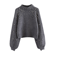 Pearl Beading Cashmere Sweater For Women Sweaters And Pullovers Autumn Winter Loose Gray Wool Jumpers Fashion
