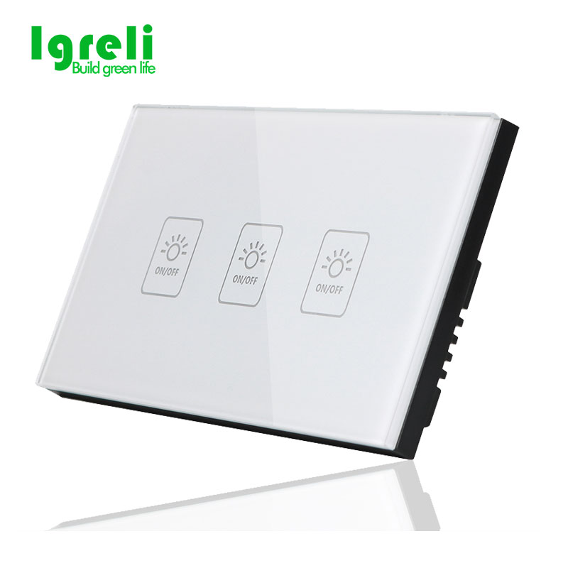 Igreli US Standard 3 Gang 1 way Light Switches, Smart Home RF433.92mhz Remote Control Wall Touch Switch,No remote control free shipping au us standard smart home glass touch light switches switches 3 gang 1 way