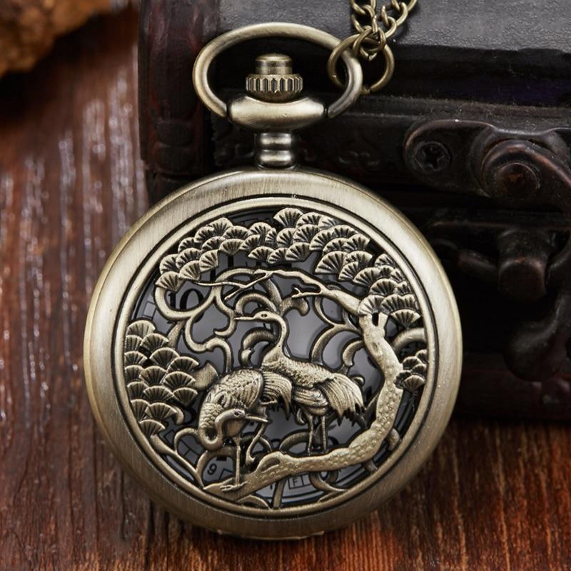 Unique Bronze Hollow Crane Pocket Watch With Fob China Retro Men Women Necklace Pendant Quartz Pocket Watch Reloj De Bolsillo