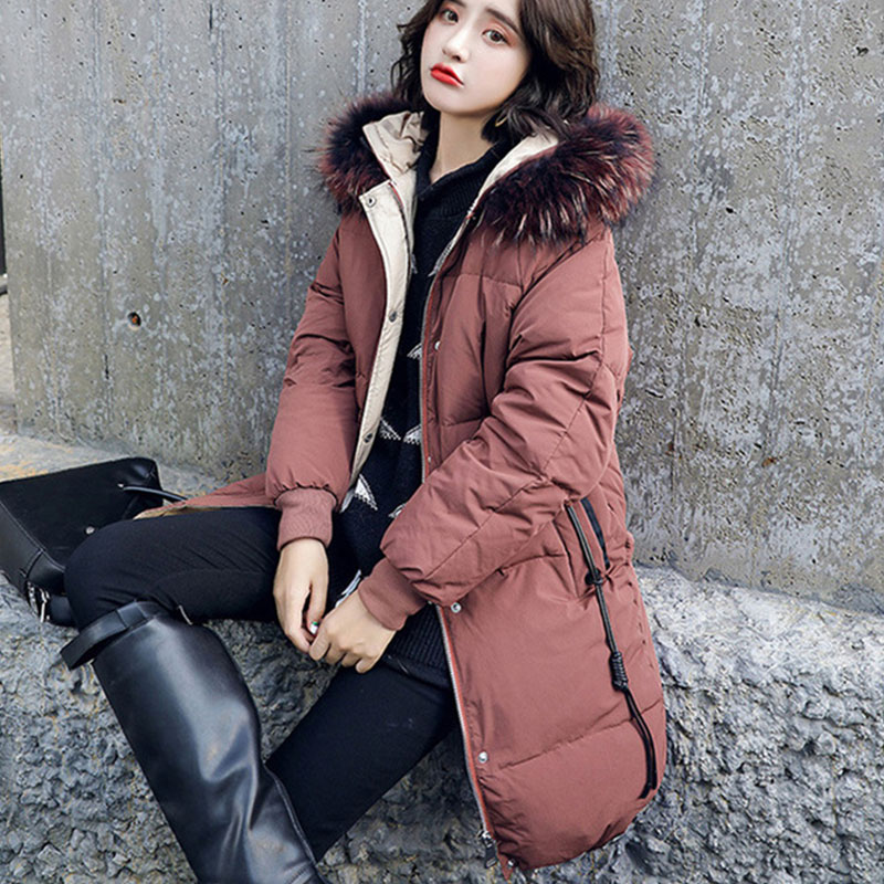 Long Thick Slim Fur Collar Hoodie   Down     Coats   Women Solid Long Sleeve Cotton Outwears Winter Female Warm Jackets High Quality New