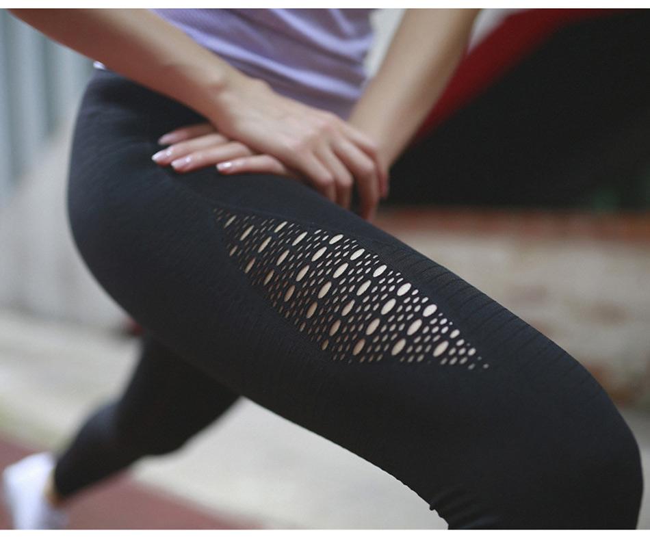 Leggings patchwork à mailles noir, gros plan