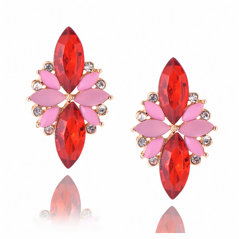 New Women s Fashion Crystal Earrings Rhinestone RED Pink Glass Black Resin Sweet Metal Leaf Ear