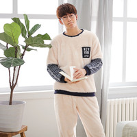 JRMISSLI Home Clothes Winter Warm Flannel Men's Bathrobe Long Sleeve Sleepwear Pajamas for Men Sleep Lounge