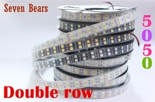DC12V 24V  120leds/m White/Black PCB  led strip 5050 5m/reel double row Waterproof IP67 IP20 warm white/white/RGB led tape light