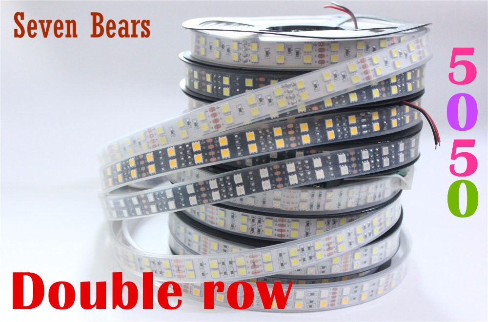 DC12V 24V 120leds/m <font><b>White</b></font>/Black PCB <font><b>led</b></font> <font><b>strip</b></font> 5050 5m/reel double row <font><b>Waterproof</b></font> IP67 IP20 warm <font><b>white</b></font>/<font><b>white</b></font>/RGB <font><b>led</b></font> tape light image