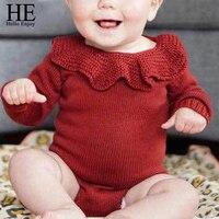 Mono del bebé gemelos ropa de Primavera 2018 Nueva Solid Knitting floral niñas traje de los Bebés de manga larga amarillo rojo body