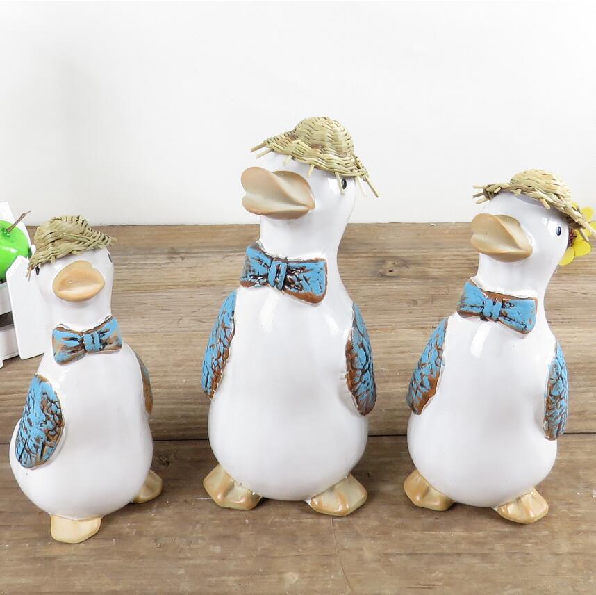 3 pièces ameublement décoration ornements série céramique artisanat Zakka canard paille chapeau fermier famille bonne Fortune prospérité cadeau