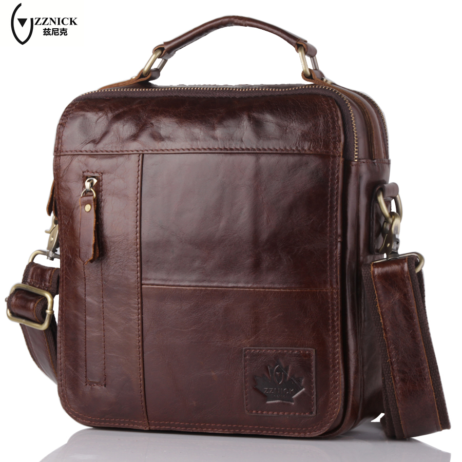 ZZNICK Genuine Leather Crossbody Messenger Shoulder Bag Men Business Cowhide Tote Handbag High Quality Travel Casual Male Bags new fashion genuine leather business casual men messenger bag high quality cowhide leather crossbody brand bags for men