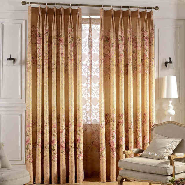 NYYBXFKDD 2017 New Pastoral Simple Gold Jacquard Printed Living Room Bedroom  Curtain Tulle Custom Household Items