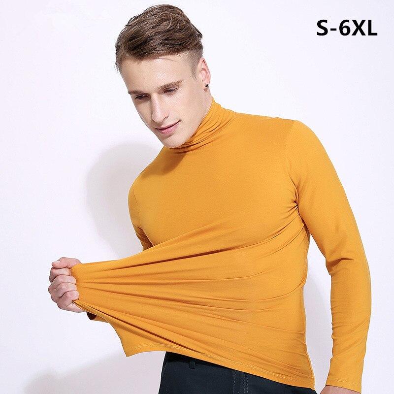 European Style Men's  Turtleneck Long Sleeve T Shirt Leisure T-shirts,brand Cotton Shirts Tops Big Size Men Clothing S-5XL 6XL