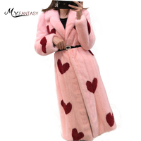 M.Y.FANSTY 2018 Winter Mink Fur Coat Real Natural Fur Coats imports Women's Print Red Heart Pink Turn Down Collar Mink Coats