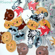 50pcs/a pack Rabbit Butterfly Owl Giraffe Variety Mixed Animal Buttons DIY Crafts Clothing Sewing Accessories