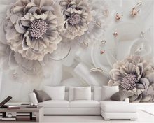 beibehang High fashion personality decoration painting atmosphere peony stereoscopic jewelry flower TV background 3d wallpaper