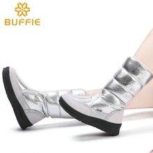 รองเท้าบู๊ทรองเท้าผู้หญิงฤดูหนาวหญิงสไตล์แฟชั่นสีเงินขนาดใหญ่ขนาด warm plush antiskid แบน outsole ตรงด้านบน
