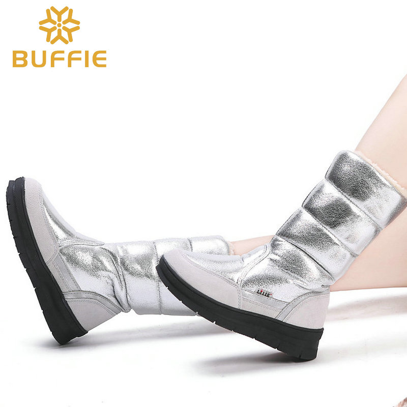 High Boots women winter shoes female style silver fashion colour full big size warm plush antiskid flat outsole Straight upper-in Knee-High Boots from Shoes