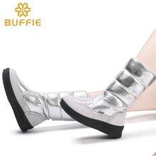 Stivali alti delle donne di inverno scarpe stile femminile argento di colore di modo pieno di grande formato caldo peluche antiscivolo suola piatta Diritta superiore