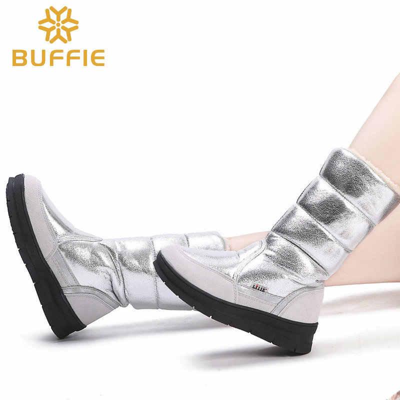 Yüksek Çizmeler kadın kışlık ayakkabı kadın tarzı gümüş moda renk tam büyük boy sıcak peluş antiskid düz taban Düz üst