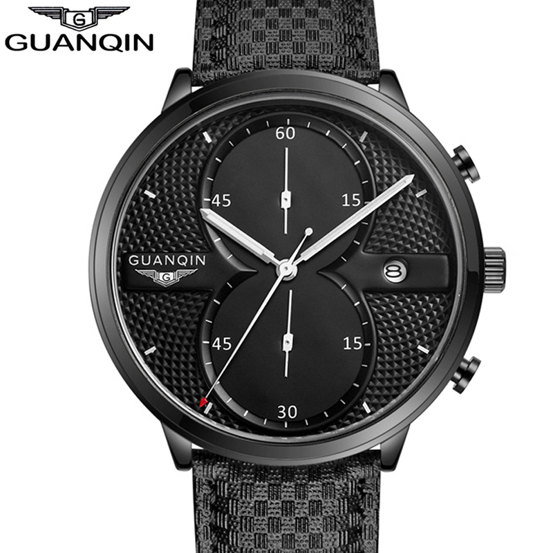 GUANQIN Watches Men Military Sport Chronograph Luminous Hands Clock Men's Fashion Leather Strap Quartz Watch relogio masculino men luminous hands watches steel quartz sport wristwatch military dial clock chronograph army rose golden rubber band man watch