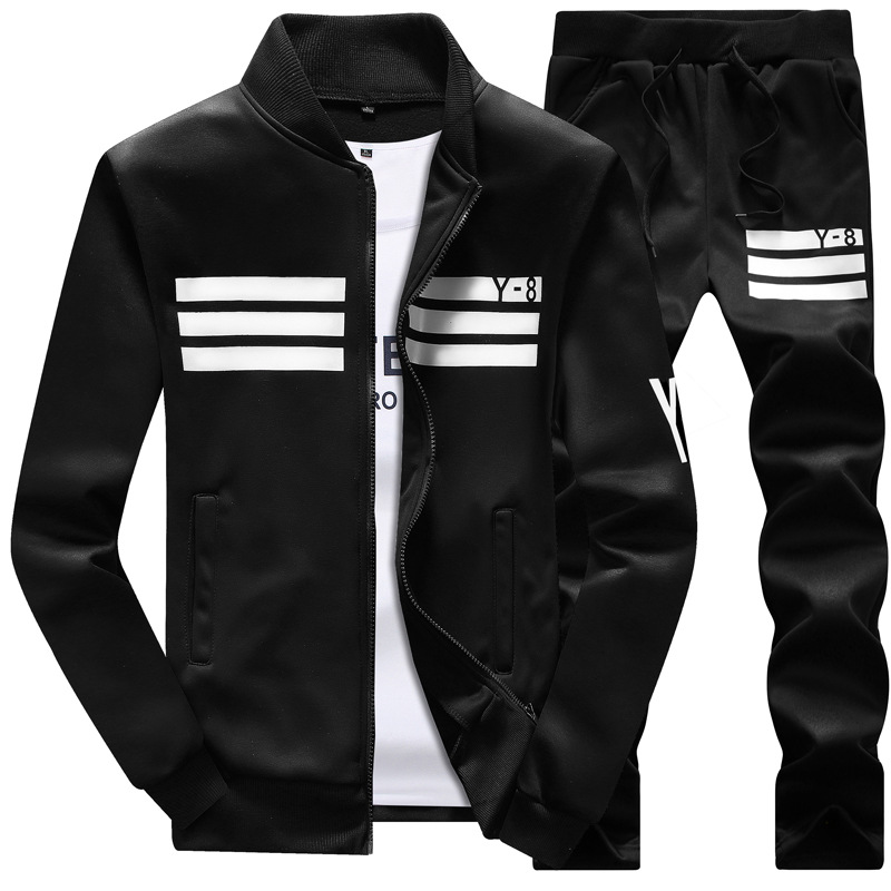 New Men Sets Fashion College Sporting Suit Sweatshirt +Sweatpants Mens Clothing 2 Pieces Slim Tracksuit Baseball Uniform Jacket