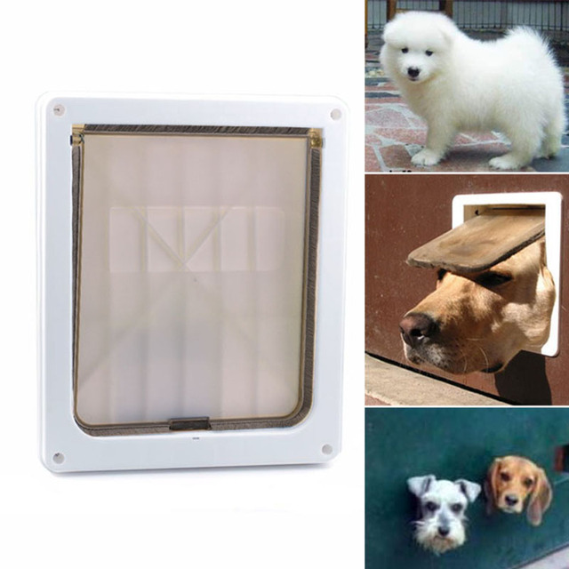 Homdox 8.2 x 10.4 inch Flap Plastic Small Medium Dog Pet Lockable Door Gate Extra Large White #30-21