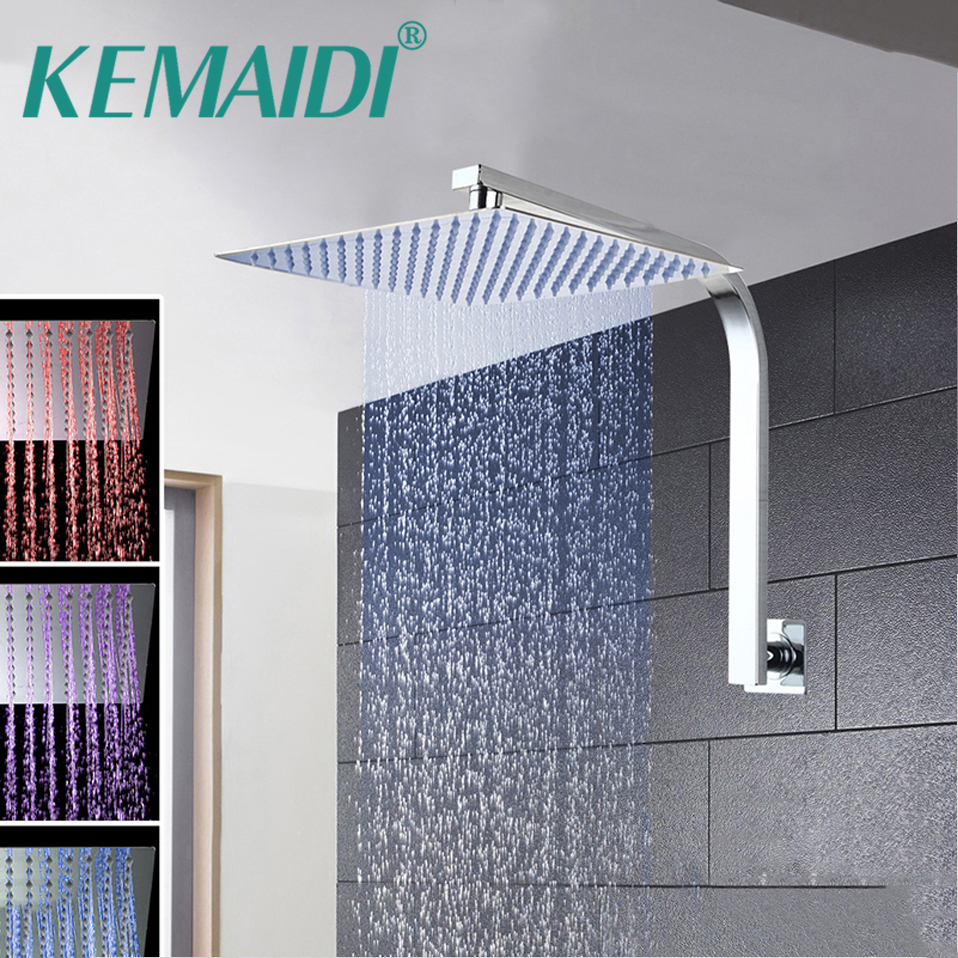 KEMAIDI 81216 Bathroom Shower Faucet Set Ultra-thin Panel Wall Mounted Rainfall Head Mixer Waterfall Rain Bathroom Faucets free shipping polished chrome finish new wall mounted waterfall bathroom bathtub handheld shower tap mixer faucet yt 5333