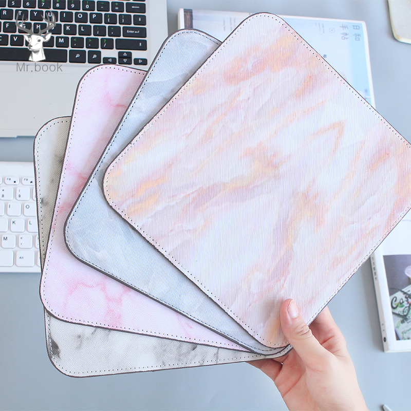 Nordic Ins Style Soft PU Computer Desktop Game Marble Lines Mouse Pad Non-Skid Office Laptop Keyboard Pad Desk Set Accessories