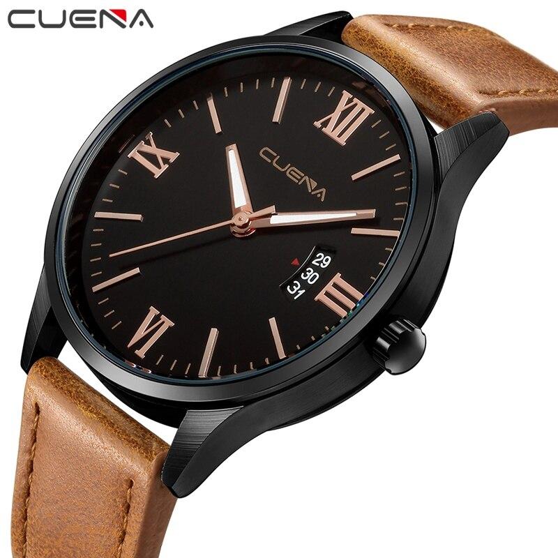 CUENA Quartz Watches Men Complete Calendar Brown Genuine Leather Strap 30m Waterproof Male Clock Watches Men Fashion Watch 2018