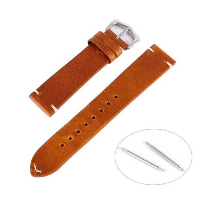18 20 22mm Man Women Handmade Leather Brown Black Wrist Watch Band Strap Belt Watchbands