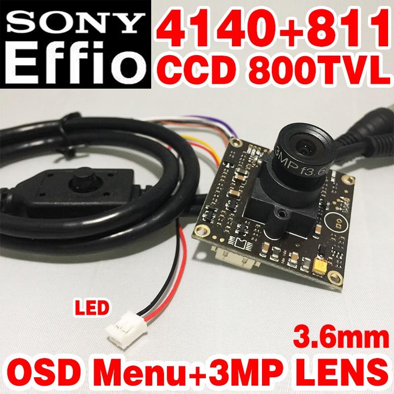Limited 1/3Sony Sensor CCD Effio-E 4140+811 800tvl Analog cvbs ahdl Finished HD Monitor chip module 3.6mm 3.0mp lens osd menu