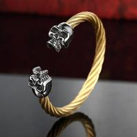 Viking Skull Bangles Bracelets For Men 316L Stainless Steel Gold Black Color Twisted Wire Cable Male