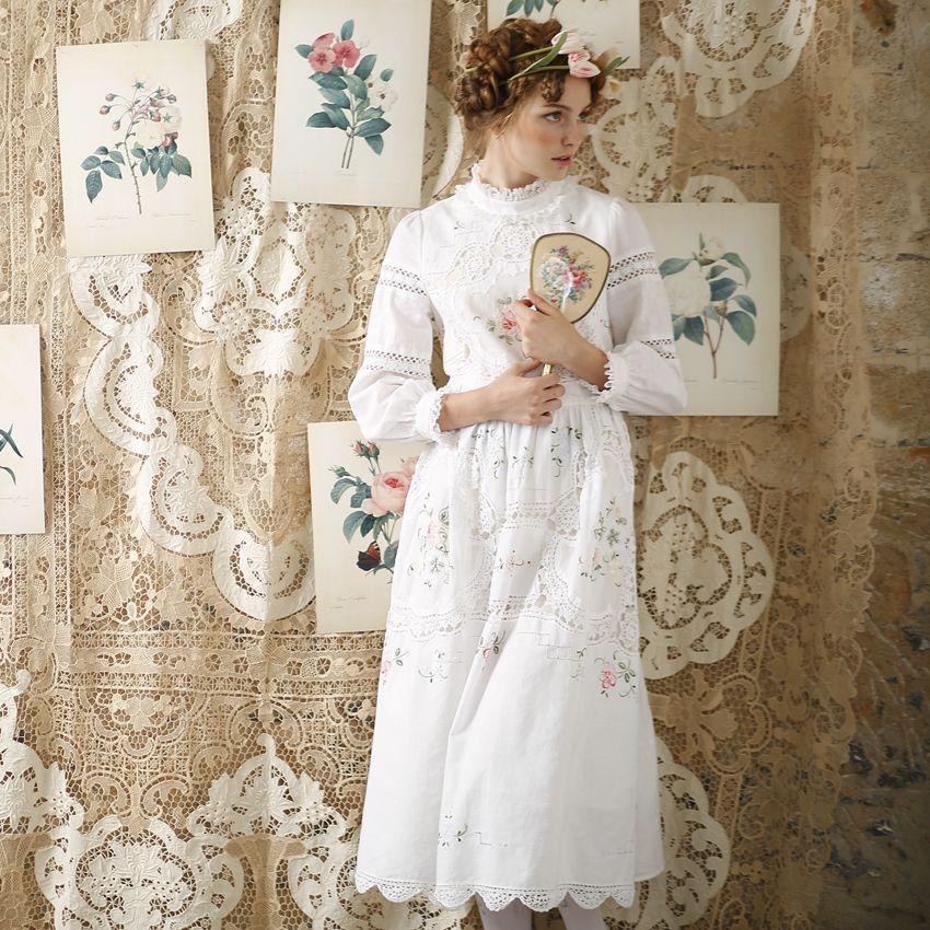 LYNETTE'S CHINOISERIE Projeto Original Outono Mulheres Edição Limitada Antigo Crochê Bordado Patchwork Vestido de Princesa Do Vintage