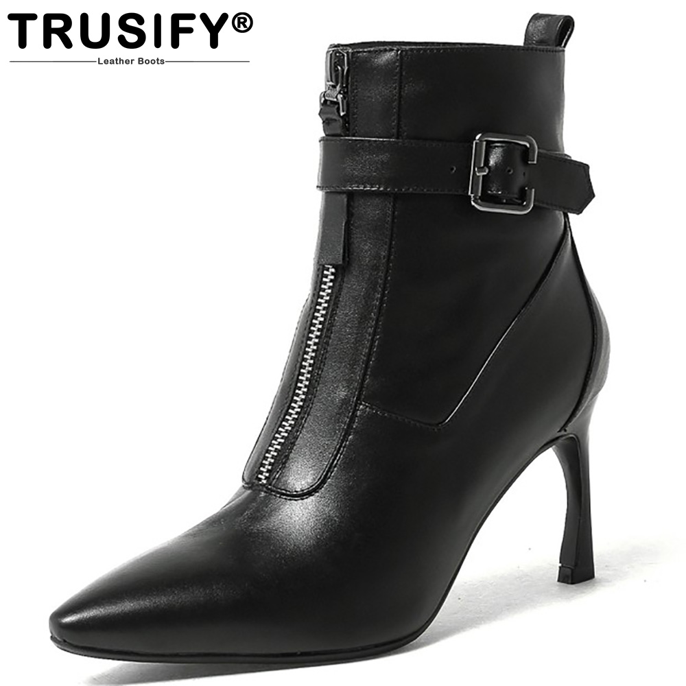 TRUSIFY 2018 Ohash Cow Leather Mid Calf Zip Pigskin lining Knight boots Pointed Toe High Hoof Heels Winter Shoes Women solid black winter spring women fringe decoration shoes slip on pointed toe spike high heels mid calf boots women free shipping