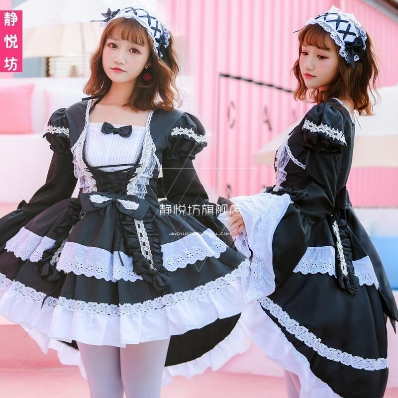 Livraison gratuite haut à la mode offre spéciale 2019 servante noire et blanche Costume Cosplay robe Lolita gothique sorcière hirondelle queue