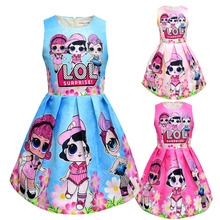 hot deal buy lol dolls baby dresses 3-10y summer cute elegant dress kids party christmas costumes children clothes princess lol girls dress