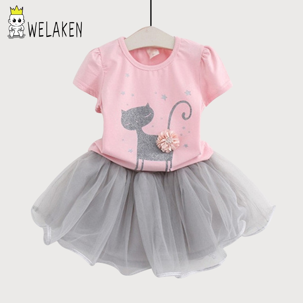 WeLaken 2018 Fashion Girls 2 Pieces Cute Cat Floral Tops +short TUTU Mesh Skirt Children Clothing Kids Clothes Sets Girls Suits